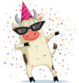 funny party ox dabbing cartoon vector image