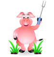 funny pig cartoon with fork vector image vector image