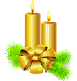 golden candle with bow decoration and fir twig vector image