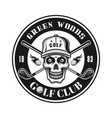 golf club round emblem with skull in hat vector image vector image