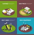 Golf equipment 2x2 isometric design concept