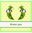 Green pea funny characters on yellow background vector image vector image