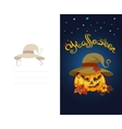 Halloween greeting card with scary pumpkin wearing vector image
