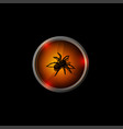 halloween logo black 3d spider on an orange vector image vector image