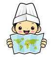 happy chef character is holding a world map vector image vector image