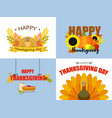 happy thanksgiving day banner set flat style vector image