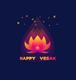 happy vesak day card with lotus vector image