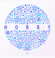 hobconcept in circle with thin line icons vector image vector image