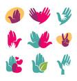 human hands symbols helping hand heart vector image vector image