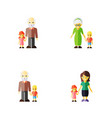 icon flat people set of grandson grandpa grandma vector image vector image