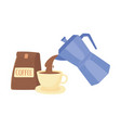 international day coffee kettle pouring on cup vector image vector image