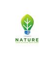 leaf and lighting bulb logo reserve energy logo vector image