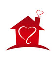 loving home with heart silhouettes icon vector image