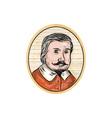 Medieval Aristocrat Gentleman Oval Woodcut vector image vector image
