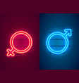 neon sign women man red sexy symbol banner vector image
