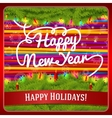 new year greeting card decorated pine wreath vector image