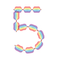 Number 5 made in rainbow colors vector image