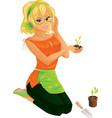 Pretty girl gardening vector image vector image