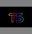rainbow color colored colorful alphabet letter ts vector image vector image