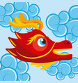 red chinese dragon head cute blue clouds cartoon vector image