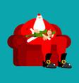 santa claus on chair stroking elf sleep christmas vector image vector image