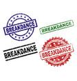 scratched textured breakdance stamp seals vector image