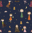 seamless pattern background magic the sorcerer vector image