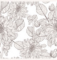 seamless pattern line dahlia flowers and leaves vector image