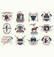 set knight historical club badge design vector image