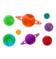 set of cartoon planets vector image vector image