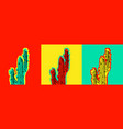 set of pop art cactus pictures vector image