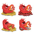 set of red dragon guarding his treasures and vector image