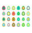 set of stylized easter eggs made of concentric vector image