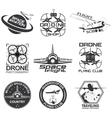 Set of vintage space drone aeronautics flight vector image vector image