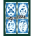 set stamps with winter extreme sports vector image vector image