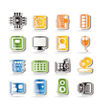simple computer performance and equipment icons vector image vector image