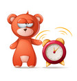 sleeping bear funny cute alarm vector image