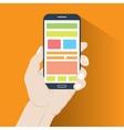 Smartphone in hand Flat design vector image vector image