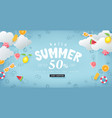 summer sale design with paper cut summer elements vector image