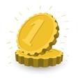 Two golden coins cartoon vector image