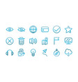 user interface icons set blue gradient vector image