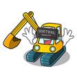virtual reality excavator mascot cartoon style vector image