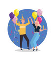 woman and man dancing with confetti and hat vector image