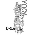 yoga and the breath text word cloud concept vector image vector image