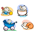 Little childs in cartoon style vector image