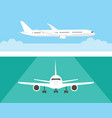 airplane in the sky and on the runway airliner in vector image
