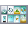 set of eco infographic world map chat vector image