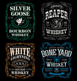 Whiskey label t-shirt graphic set vector image