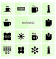 14 morning icons vector image vector image