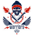 anarchy and chaos aggressive emblem or logo with vector image vector image